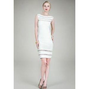 Tadashi Shoji Pin Tuck Mesh Striped Dress Ivory L